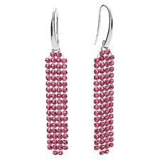 925 Argento Sterling Orecchini Mesh frizzante con cristalli Swarovski Element rosa
