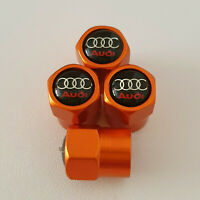AUDI metal Orange Valve Dust caps all models Lot Colours S LINE TT RS Q5 Q8 RS3
