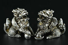 Decorated Rare Miao Silver Carve Arrogance Lifelike Kylin Lucky Pair Statue