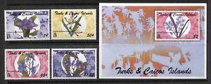 TURKS & CAICOS 1995, FLOWERS, ORCHIDS,  Scott 1110,1113,1114,1117,1128. MNH