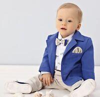 Abito vestito da battesimo maschietto completo da cerimonia beige-blu cod 1972