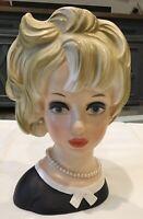 """Vtg Relpo K1940 7"""" Tall Head Vase Blonde Lady In Black W Pearls Eyes Open"""