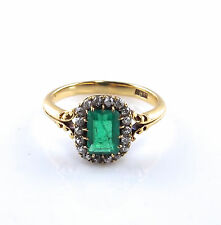 Antique Victorian 18K Yellow Gold Emerald and Diamond Cluster Ring Size 7