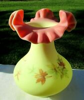"Fenton Art Glass Burmese Leaves Vase 7""H 1970-72 Mint**"