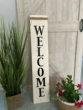 Welcome Sign Front Porch Patio Wood Welcome Sign Antique White With Jute Rope