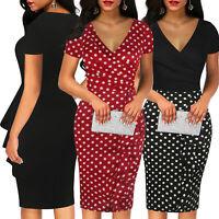 Womens Casual Pencil Dress V-neck Office Wear Short Sleeve Midi Skirt Ruffle Dot