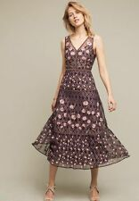 New Anthropologie Tansey Tulle Midi Dress Embroidered Moulinette Soeurs 10 $298