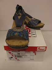 RIEKER Womens ROBERTA 62 Wedge Blue Wedge Sandals US 6.5 (60682-90)