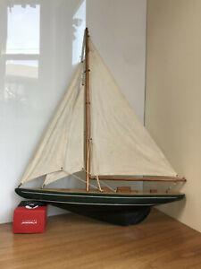 "Vintage Model Sailboat Cloth Sail 24"" x 20"" Wood Pond Boat Yacht"