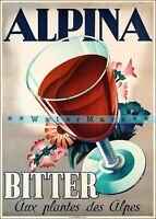 Alpina Bitter 1938 Vintage Poster Print Art Switzerland Alpine Drinks Advert