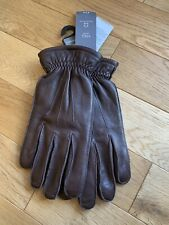 BNWT  Marks Spencer Mens Brown Leather Gloves size L - Large