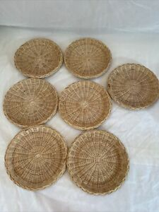 7 Vintage Boho Wicker Rattan Bamboo Paper Plate Holder Camping Picnic Party