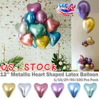 12'' Metallic Latex Balloon Heart Shaped Birthday Wedding Party Decor 1-100PCS