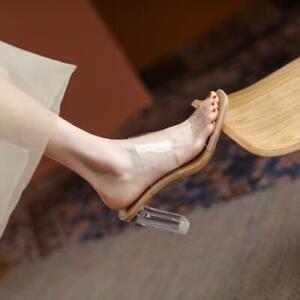 Women's Fashion Leather Transparent Crystal Heel Slipper Sandals Shoes DIWD