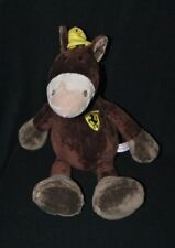 Peluche doudou âne cheval NICI marron brun casquette jaune Ferrari 40 cm NEUF