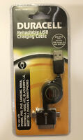 NEW Duracell Retractable USB Charging Cable Multiple Tips Micro Mini USB 30-Pin