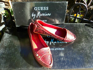 GUESS by Marciano-Safia-Dark red snake  LEATHER Moccasin Sz: 6.5 M -gorgeous