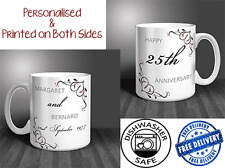25th Wedding Anniversary (Silver) Personalised Mug Gift Set (PAIR). (OC026)