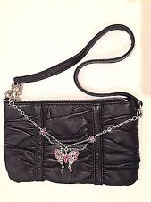 Wilson Leather Maxima Black Wristlet Purse w/Pink Butterfly Chain