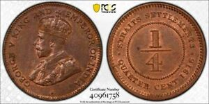 Straits Settlements George V 1/4 cent 1916 uncirculated PCGS MS63