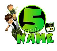 IRON ON TRANSFER PERSONALISED BEN 10 BIRTHDAY any name and number- 15x12cm