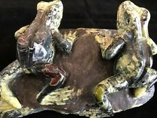 IMPRESSIVE CARVING, 2  SERPENTINE FROGS, HARD TO FIND, GREAT DETAIL!