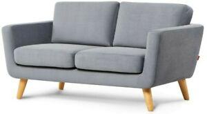 Sofa 2 Sitzer Couch 2 seater klein Wohnlandschaft Stoff retro lounge Holz TAGIO