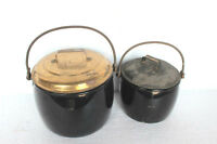 2 Pc Vintage Enamel Ware Black Cooking Pot Kitchenware Home Decor 3820 G-PY-64