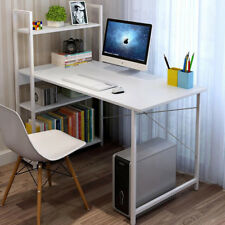 Modern Computer Desk W/ 4 Tier Bookcase Shelf Home Office Study Worksation Table