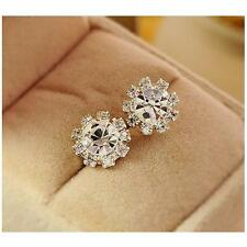 Delicate Women Round Flower Crystal & CZ Ear Stud Fashion Earrings Party Gift