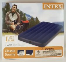 Intex Twin Size Classic Downy Inflatable Air Bed Mattress 68757WA (Blue)