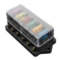 6 WAY FUSE HOLDER BOX CAR VEHICLE CIRCUIT BLADE FUSE BOX BLOCK + FREE FUSE US AD