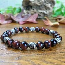 Bracelet Femme Homme Perles Naturelles Oeil de Taureau Tibet argenté Hématite