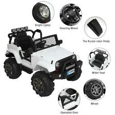 WHITE Ride On Car Kids Jeep 12V Electric Battery MP3 Light 3Speed Remote Control