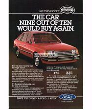 1983 Ford Escort Red 4-door HT Vtg Print Ad