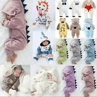 Newborn Baby Kids Boy Girl Dinosaur Hooded Romper Jumpsuit Softs Cartoon Outfit
