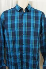 Alfani Mens Casual Shirt Sz S Lucky Blue Plaid Business Button Down Front Shirt