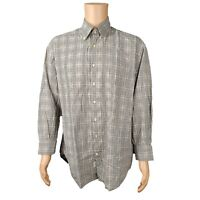 PETER MILLAR Men's Brown Tan Plaid Long Sleeve Button Down Shirt SZ LARGE