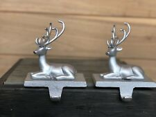 2 Christmas Stocking Holders Hanger Silver Colored Metal Reindeer Brushed EUC