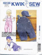 KWIK SEW SEWING PATTERN 3145 BABY SZ S-XL BABY BOYS/GIRLS, UNISEX OVERALLS & CAP