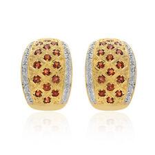 1.38 Carat Garnet & Diamond Huggy Earrings 14K Yellow Gold