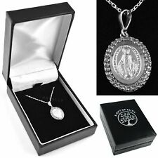 More details for miraculous mary medal necklace pendant gift boxed silver 925 cz virgin mother