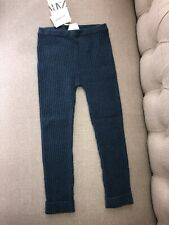 New Zara Boy Girl Kids 100% Cashmere  Blue  Ribbed Legging Pants Size 3-4 Years