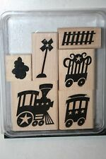 e STAMPIN UP RETIRED STAMP SET LITTLE ENGINE TRAIN 6 PC SOME STAINING