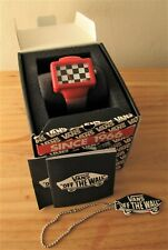 """Vans """"Off The Wall"""" watch red with black & white check face - with original box"""