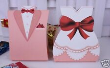 100Pcs Pink TUXEDO DRESS Bridal Groom Wedding Favors Candy Paper Gift Box USA