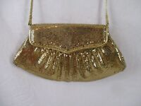 Whiting and Davis Gold Mesh Handbag Shoulder Bag Crossbody Evening Snap Flap BP6