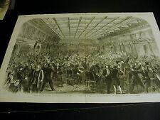 ABOLISHMENT of SLAVERY Excitement Passing Amendment 1865 Large Antique Engraving