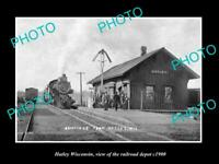 OLD POSTCARD SIZE PHOTO OF HATLEY WISCONSIN THE RAILROAD DEPOT STATION c1900