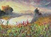 ACEO sunset misty river landscape original oil canvas painting art card